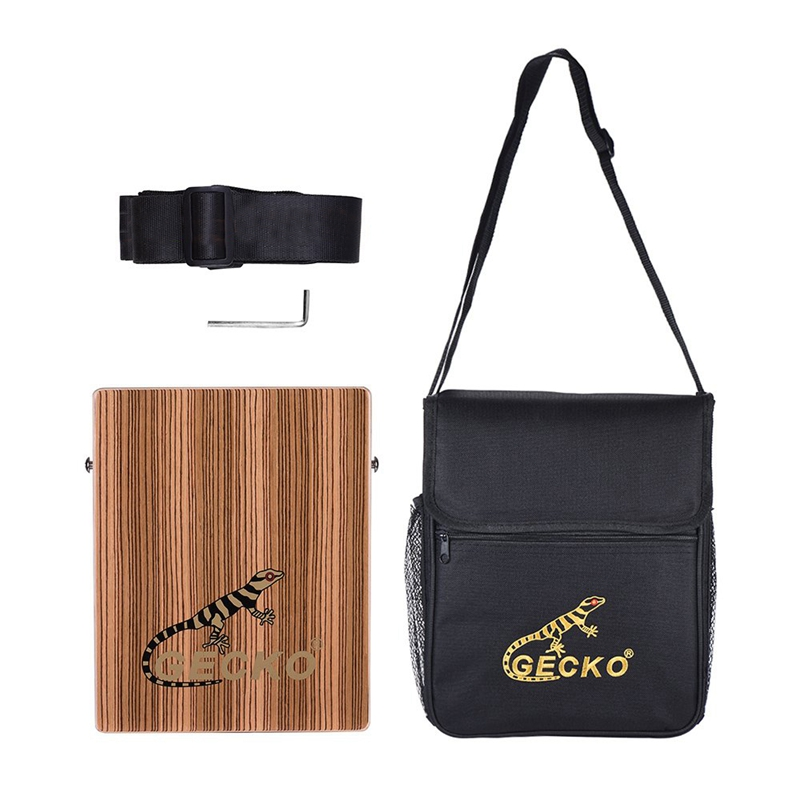 GECKO C-68Z Portable Cajon boîte tambour tambour à main zèbre bois Persussion Instrument avec sangle sac de transport
