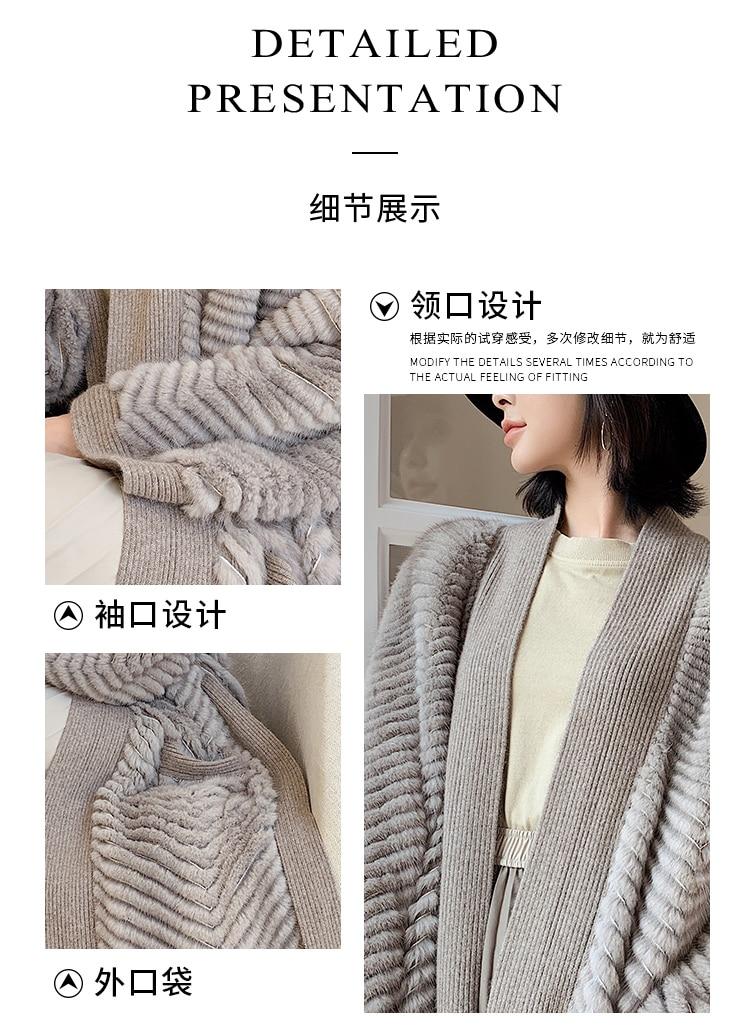 H8b95f25a548d4366b4ffb15cba43658cd HDHOHR 2021 New High Quality Natural Mink Fur Coat Women With Belt Knitted Real MinkFur Jacket Fashion Warm Long For Female