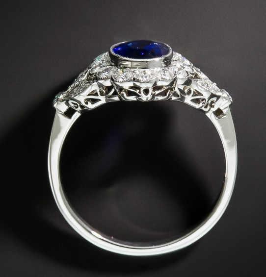 Anillo con piedra ovalada azul para mujer anillo de compromiso de promesa de flores Vintage para Mujer Accesorios de moda de boda anillo de plata 925 para hombre