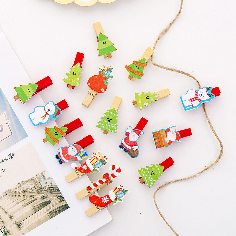 10pcs/lot Cute Cartoon Christmas Wood Clip Photo Clip Creative DIY Decoration Clips With Rope Kawaii Stationary