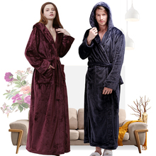 Women Winter Hooded Extra Long Thick Flannel Bath Robe Luxury Peignoir Warm Dressing Gown Men Bathrobe Bridesmaid Wedding Robes cheap RUILINGSHA Polyester Coral Fleece Solid Full Coral Fleece and Flannel Ankle-Length Hooded Thick Extra Long Robe