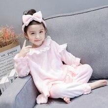 Зимний комплект кружевной пижамы для девочек, милый головной убор с бантом+ фланелевый топ с длинными рукавами+ штаны, Осенний пижамный комплект для девочек
