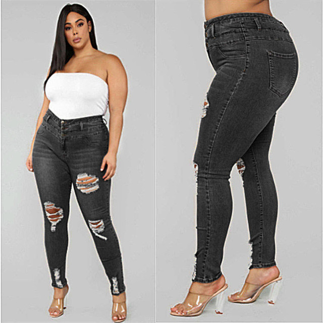 Women's Plus size jeans Black and blue high waist ripped jeans Fashion casual skinny denim pencil pants L-5XL drop shipping 1