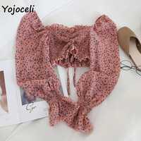 Yojoceli boho strand drucken blusen hemd frauen langarm rüschen kurze bluse tops weibliche blusas