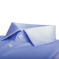 120s 2 ply Luxury Dress Shirt Custom 100% Cotton Light Blue Business Shirts 120s Two Ply Wrinkle Resistant Tailored Men Shirts