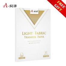 Mürekkep püskürtmeli hafif T Shirt Transfer fotoğraf kağıdı açık renk kumaş için pamuklu giysi 10 yaprak