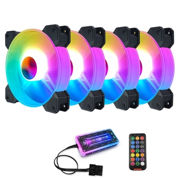 COOLMOON F-YH Computer Case PC Cooling Fan RGB Adjust 120mm Quiet + IR Remote New Computer Cooler RGB CPU Case Fan Four In One