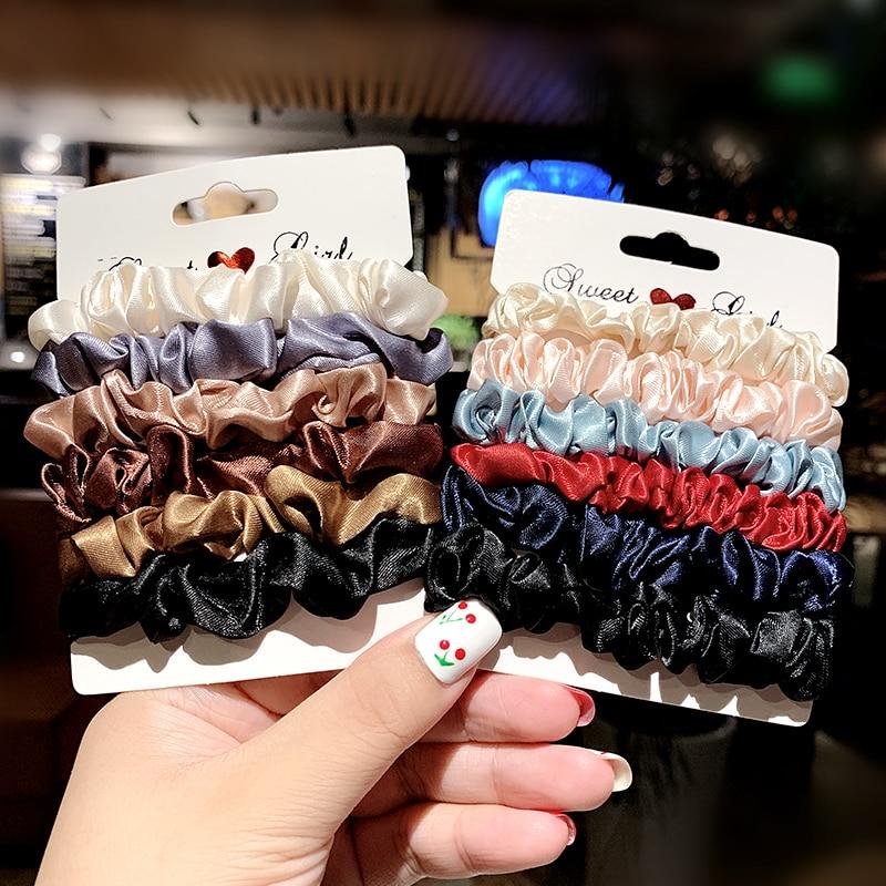 6PCS/Set Women Elegant Solid Elastic Hair Bands Girls Sweet Ponytail Holder Rubber Bands Gum For Hair Scrunchie Hair Accessories