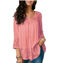 new Plus Size fashion 2020 Women Hollow out Clothes Blouse Lace-paneled V-necks Sleeve Casual Elegant Shirts Blouses Tops xxl