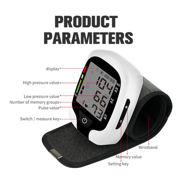 Digital Wrist Blood Pressure Monitor Sphygmomanometer Voice Reminder Monitor Rate Pulse Heart Beat Rate Meter Device Tonometer