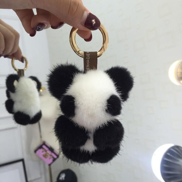 Super cute mink fur panda doll pendant panda doll key chain cute bag pendant mobile phone pendant