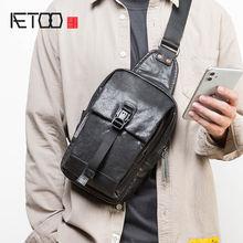 Кожаная мужская модная нагрудная сумка aetoo первый слой кожаной