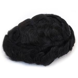 Image 4 - Парик из человеческих волос для мужчин, Французский кружево с PU париком, волосы, индийские натуральные волосы Remy 6 дюймов, мужские волосы