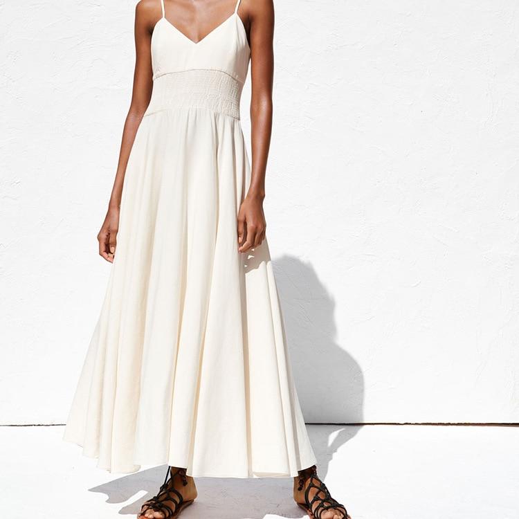 Western Style Summer New Style Women's V Collar Adjustable Camisole Waist Hive Ge Shi Medium-length Dress