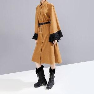 Image 3 - New 2019 Women Winter Long Straight Khaki Shirt Dress & Belt Flare Sleeve Knee Length Lady Cute Party Midi Dress Robe Femme 5701