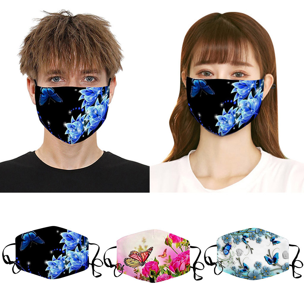 Men's And Women's Butterfly Print Dustproof Windproof Smog PM2.5 Masks Protection Breathable Respirator Masque Mascarillas