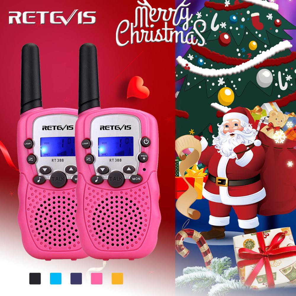 2pcs Toy Walkie Talkie Kids Radio Station Retevis RT388 0.5W PMR PMR446 Two-way Radio Flashlight Communicator Christmas Gift
