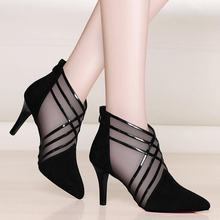 QSR Mesh high heels 2019 spring new sexy stiletto hollow female shoes Roman cool boots spring pointed shoes(China)