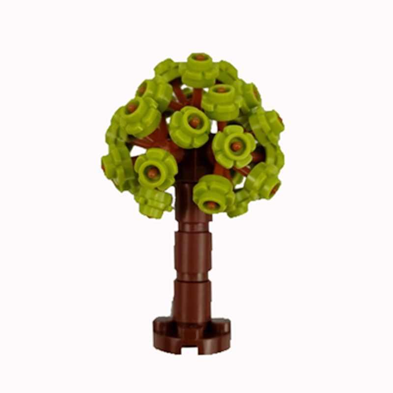 Mengunci MOC Blok Warna-warni Pohon Bunga Merakit Model Blok Bangunan Mainan untuk Anak Pembelajaran Yang Kreatif DIY Hadiah Mainan