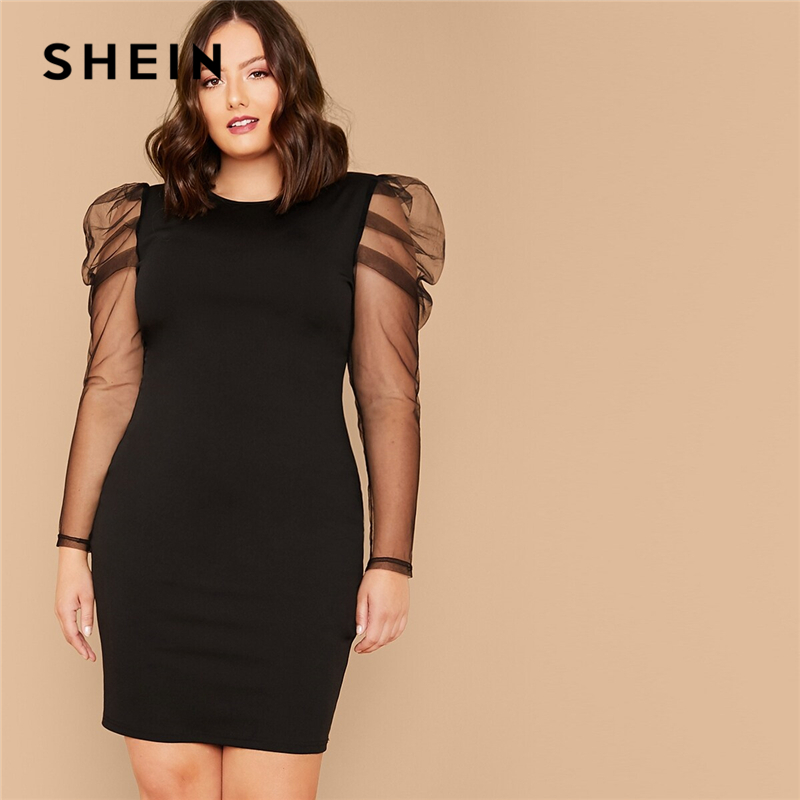 SHEIN Plus Size Black Sheer Gigot Sleeve Pencil Solid Dress Women Summer Autumn Long Sleeve Elegant Party Fitted Short Dresses