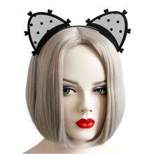 Women Girls Cute Lace Cat Ear Headband Hair Hoop Halloween Decorative Headpiece