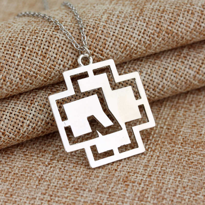 Rammstein Necklace Music Band Alloy Logo Pendant Hipster Rock Link Chain Necklace Modern Jewelry