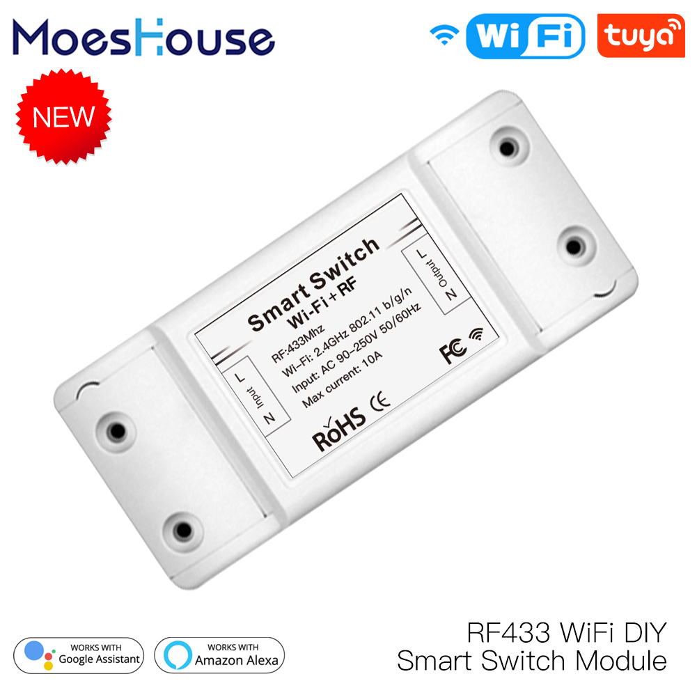 RF433 WiFi DIY Smart Switch Module RF433 Remote Control For Smart Automation Smart Life/Tuya Work With Alexa And Google Home
