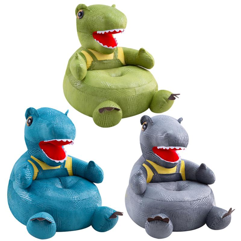 Cartoon Dinosaur Baby Sofa Support Seat Cover Washable Soft Crystal Toddler Learning To Sit Plush Chair Case Without Filler