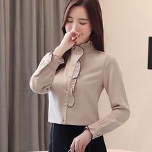 Autumn Korean Fashion Chiffon Women Blouses Ruffles Womens Tops and Shirts Plus Size XXL Femininas Elegante