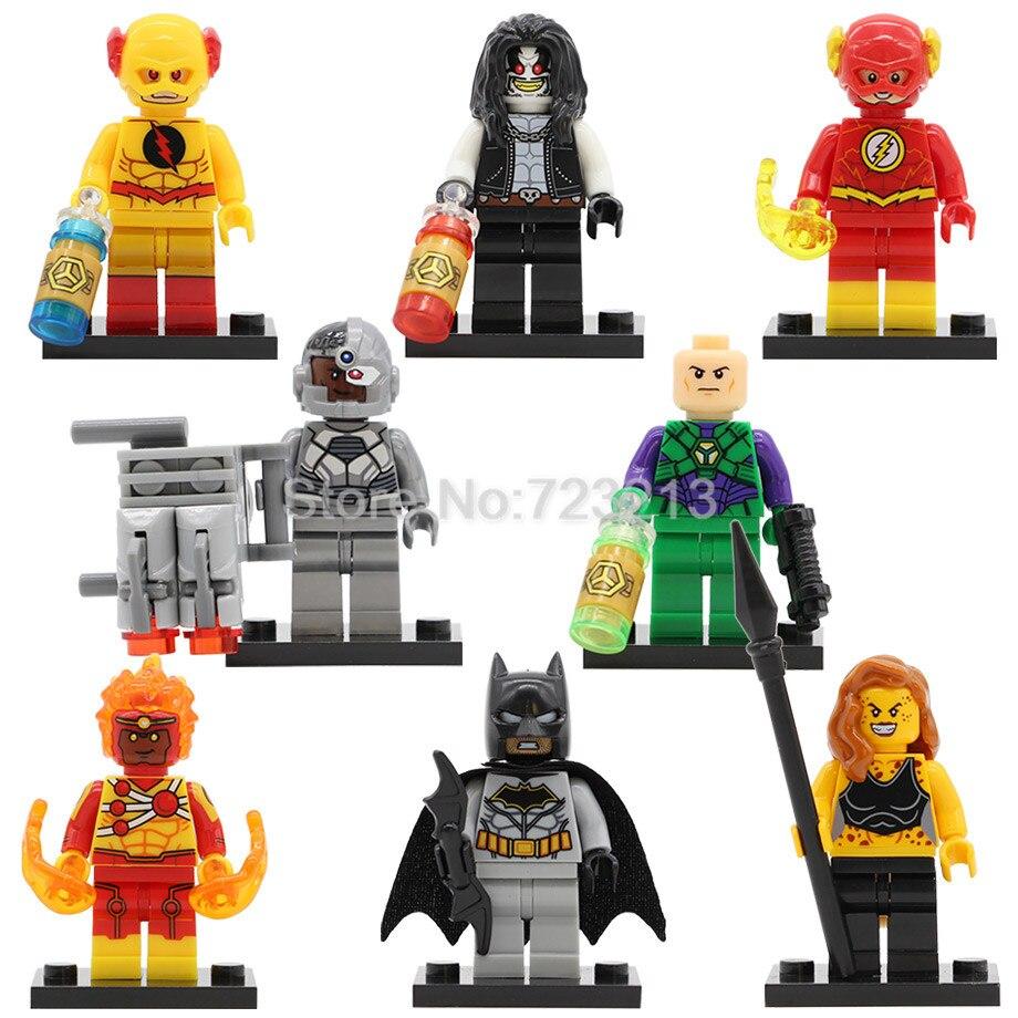 Super Hero Cheetah Figure Batman Reverse Flash Lex Luthor Cyborg Lobo Firestorm Building Blocks Set Model Bricks Toys Legoing