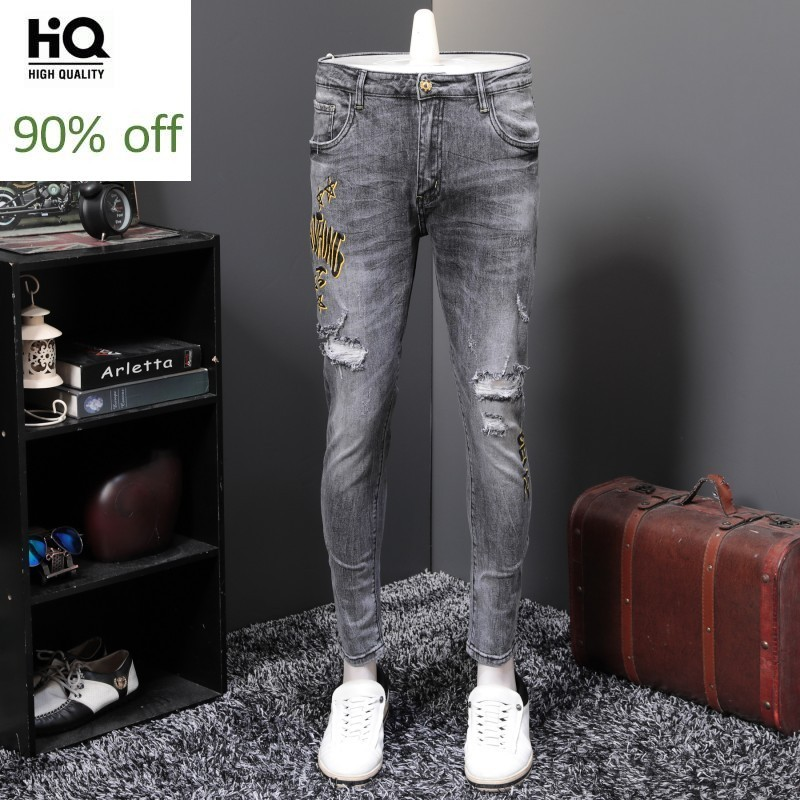Personality New Brand Hole Ripped Printed Mens Full Length Pencil Jeans Slim Fit Punk High Streetwear Male Fashion Denim Pants