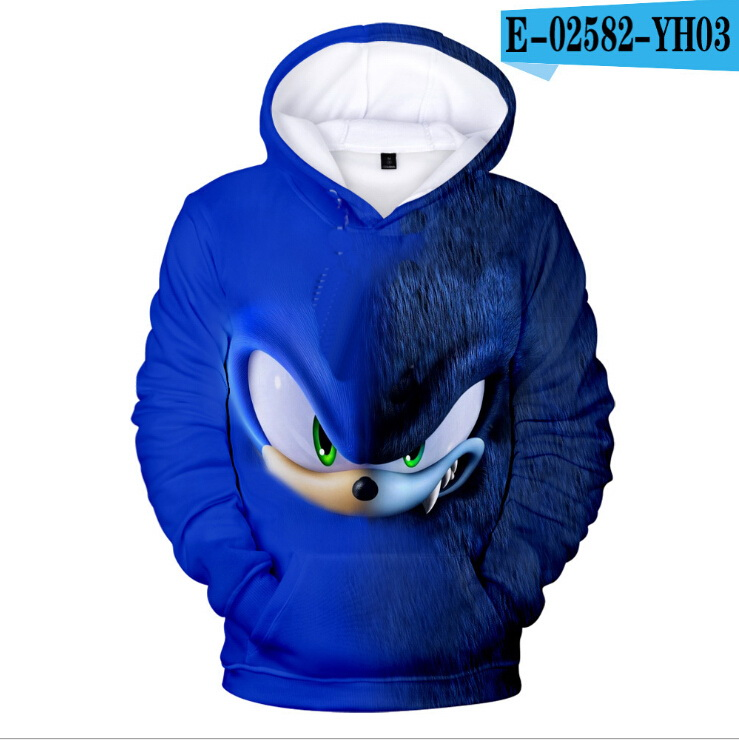 Sonic The Hedgehog/Детские толстовки с объемным рисунком для девочек; Детская толстовка для мальчиков и девочек; Детская толстовка с капюшоном для м...