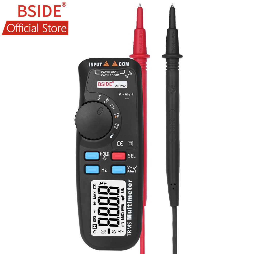 BSIDE ADM92 Handheld True RMS Digitale Multimeter Auto Range 6000 Telt TRMS Tester met Live Draad Check Temp NCV Hz ohm Diode