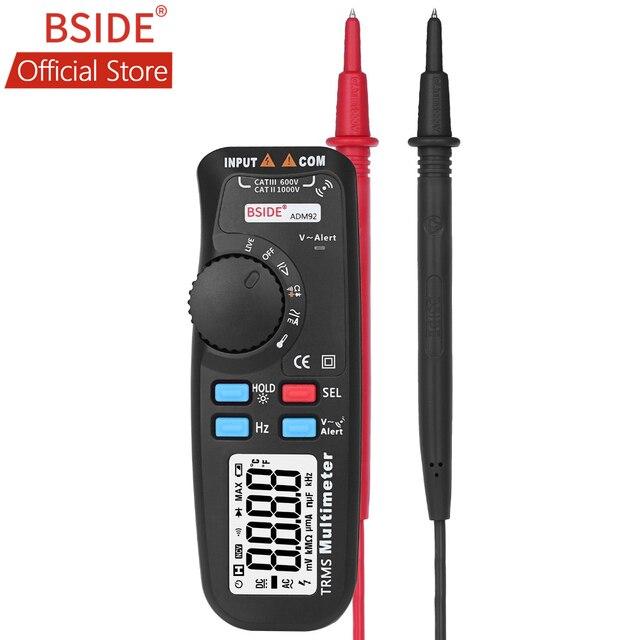 BSIDE multímetro Digital portátil ADM92, valores eficaces auténticos, rango automático, 6000 recuentos, probador TRMS con control de cable en vivo, Temp, NCV Hz, diodo de ohmios