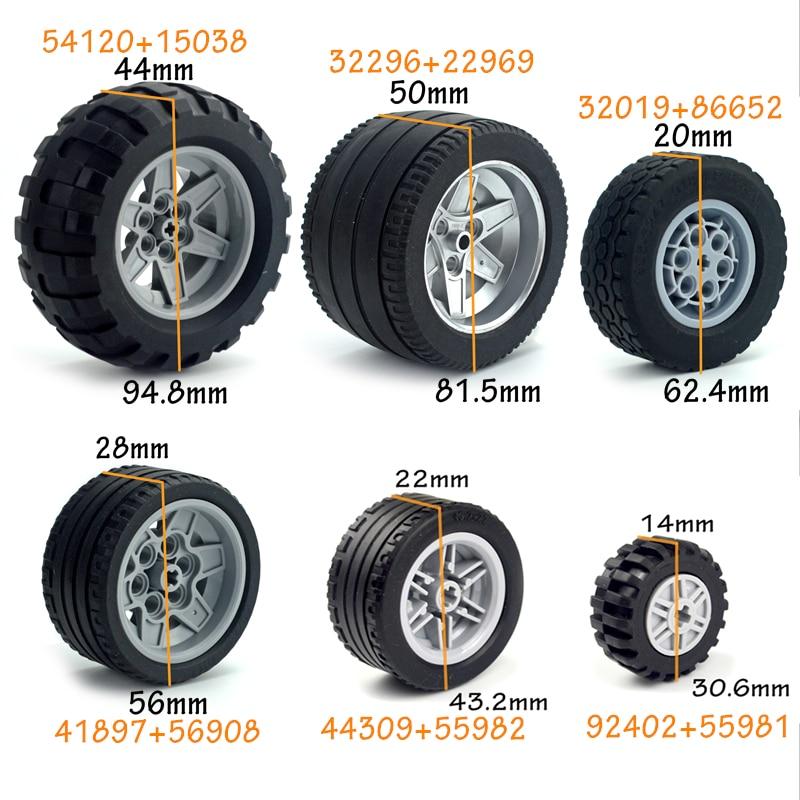 4pcs Technic Tire Wheel Hub DIY Bricks Car Truck 44309 92402 32019+86652 Construction Building Blocks Compatible Tech Parts
