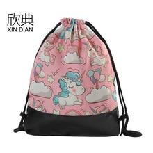 Amazon new PU leather bottom bundle pocket Pink Unicorn rope bag shoulder pack