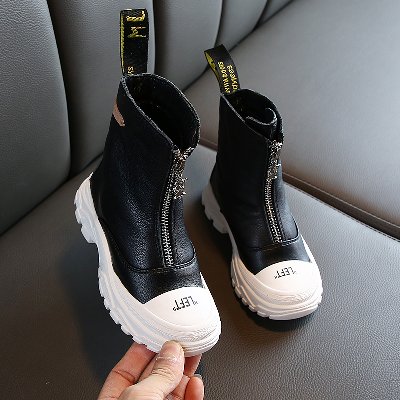 2020 New Spring Fashion Children Boots Boys Girls Genuine Leather Martin Boots Super Soft Leather Anti-kick Shoes#26-37