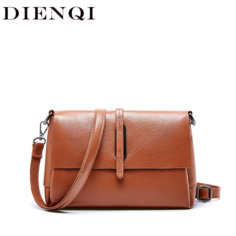 Fashion Cowhide Genuine Leather Bags Women Messenger Bag Brown Handbags Luxury Brand Small Casual Ladies Flap Shoulder Bags 2020