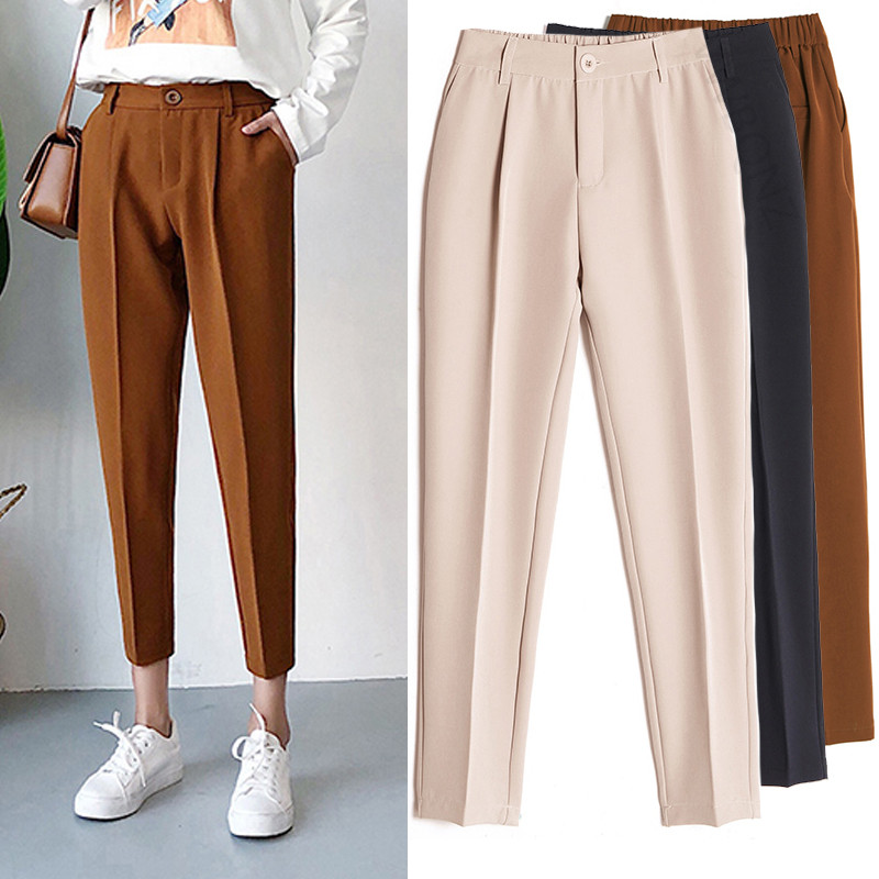 Image 2 - Women's Casual Harem pants Spring Summer Fashion Loose Ankle length Trousers Female Classic High Elastic Waist Black Camel Beige-in Pants & Capris from Women's Clothing