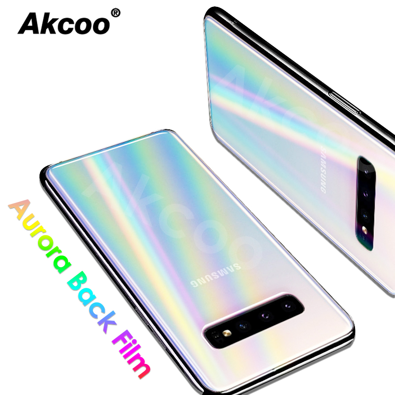 Akcoo 2 Pack Aurora Gradient Back Film For Samsung S10 Plus Rear Rainbow Protector S8 9 Plus Note 8 9 10 Plus Back Prtector Film