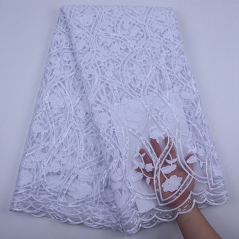 French Sequin Lace Fabric High Quality Pure White Milk Silk Lace African Net Lace Fabric Nigerian Lace Fabrics For Wedding S1777