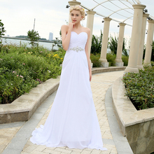 Jiayigong Real Beach Wedding Dress Boho Sweetheart Pleats Crystal Belt Chiffon Wedding Dresses Plus Size Robe De Mariee