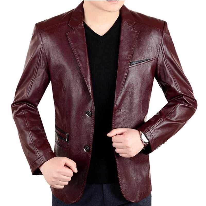 New England Mens Leather 2 Button Formal Dress Suits Fashion Man Blazers Black Red Brown Solid Motorcycle Coat Suede Jacket Male