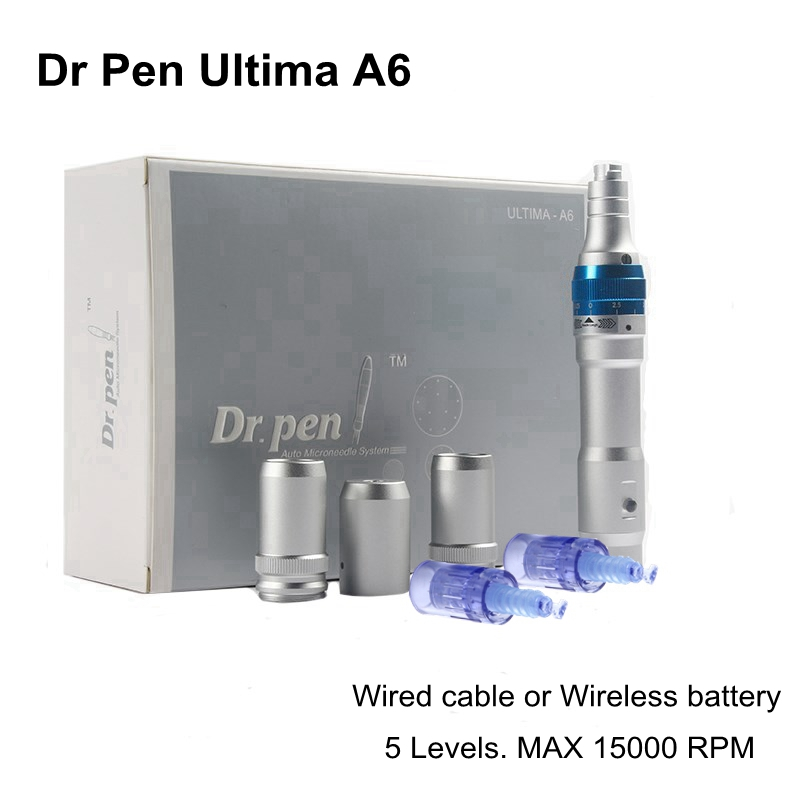 1 set  Electric Derma Roller Dr Pen A6 Rechargeable Auto Micro Needle Wireless Microneedling Machine Derma Stamp Therapy MTS
