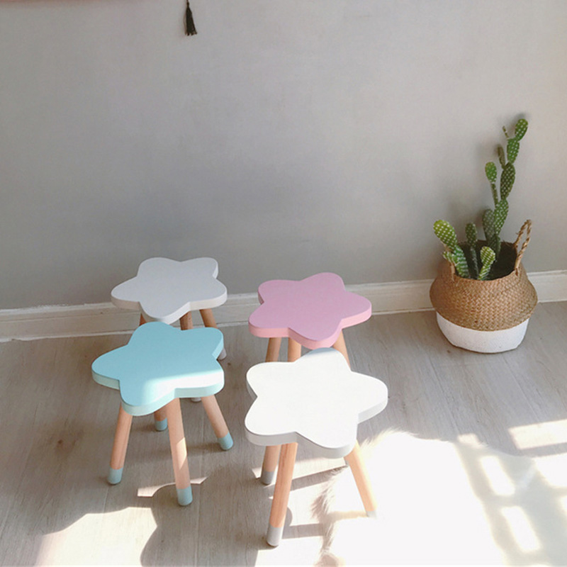 Nordic Style Wooden Kids Chair Children Room Furniture for Homeschooling Playroom Nursery Decor Cute Star Child Art Craft