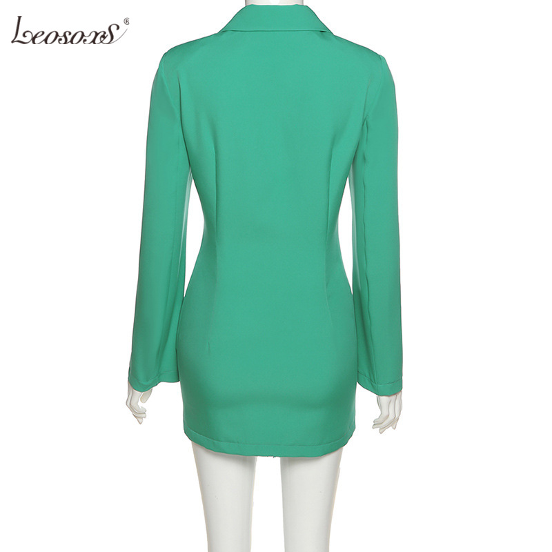 2021 Autumn Women's Blazers New Long-sleeved Sexy Tie Mid-Length Fashion Thin Outerwear Tops Green  - buy with discount