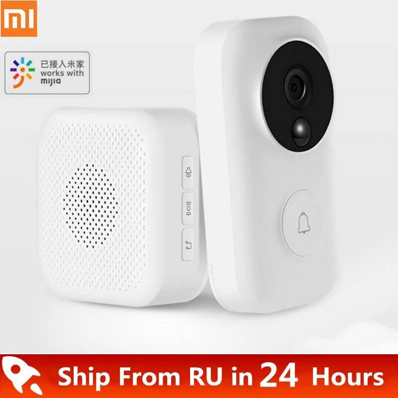 Беспроводной дверной звонок Xiaomi Zero AI с функцией распознавания лица, Инфракрасное Ночное видео, обнаружение движения, Wi-Fi, самообеспечивающи...