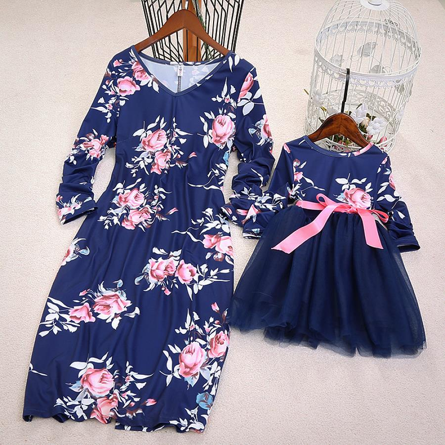Family Look Flower Mesh Dresses Mother Daughter Mommy And Me Matching Clothes Outfits Mum Mom Mama And Baby Girls Dress Princess
