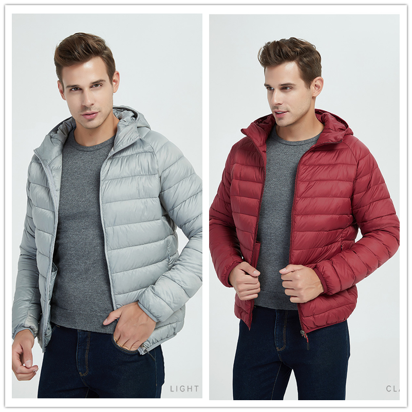 Sitaicery Spring Autumn Light Down Jacket Men's Fashion Hooded Short Large Ultra-thin Lightweight Youth Slim Coat Down Jackets