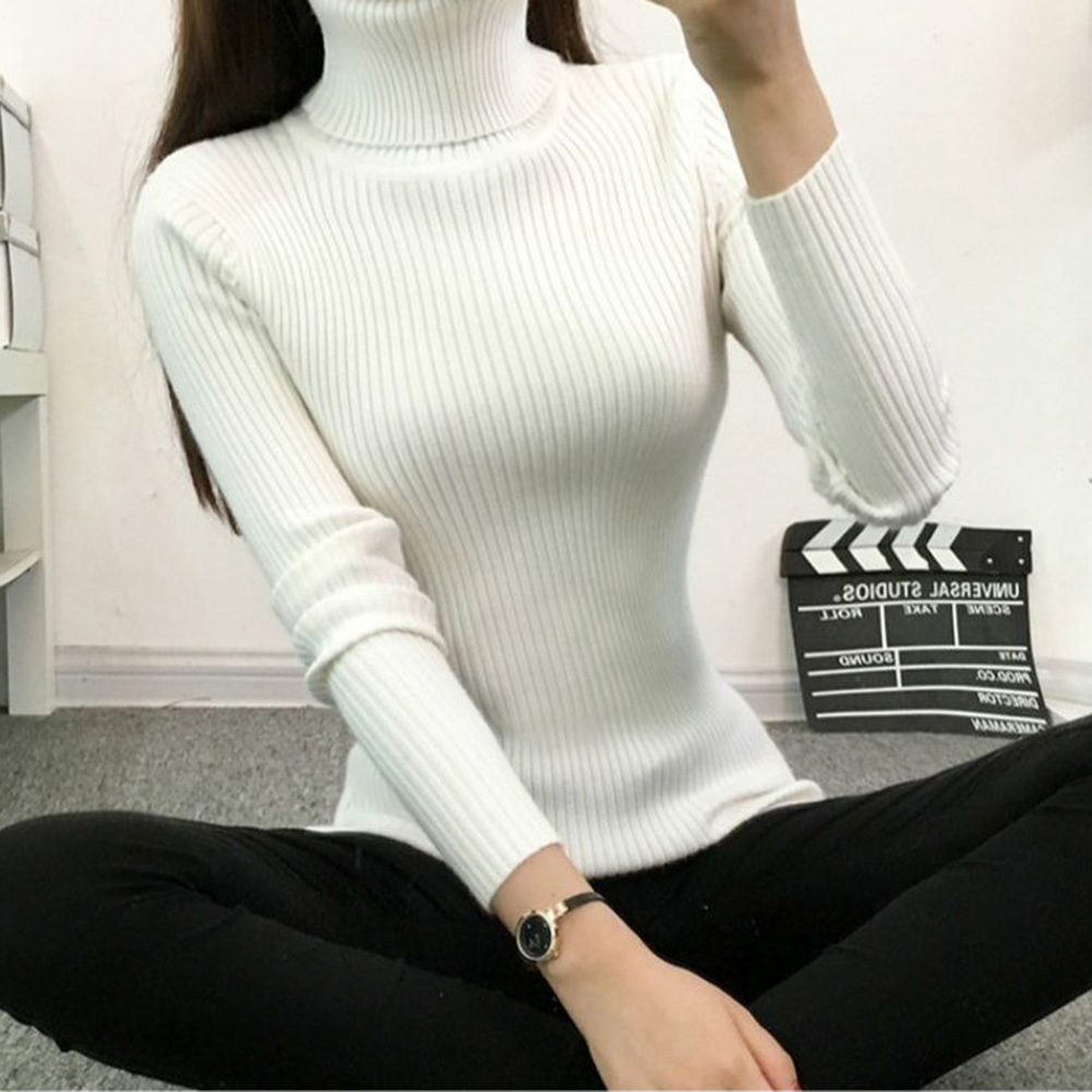 Women Sweaters  Winter Autumn Turtle Neck Sweater Elastic Slim Knitted Pullover Bottoming Sweater Women Pullovers Sweaters